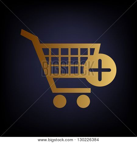 Shopping Cart and add Mark Icon. Golden style icon on dark blue background.