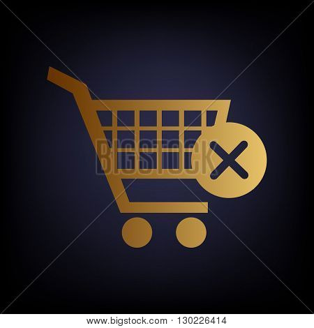 Shopping Cart and X Mark Icon, delete sign. Golden style icon on dark blue background.