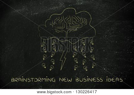 Stormy Cloud With Brain, Bolt & Rain Of Ideas, Brainstorming New Business Ideas