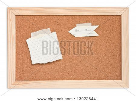 notepad on the cork board in isolated