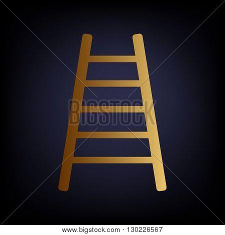 Ladder sign. Golden style icon on dark blue background.