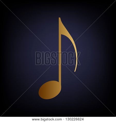 Music note sign. Golden style icon on dark blue background.