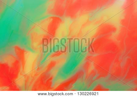 Abstract Red-Yellow-Turquoise Background Made with Paint Shampoo Glass and Paper and Forming Abstract Shapes