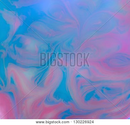 Abstract Blue-Pink Background Made with Paint Shampoo Glass and Paper and as Waving Twisting Shapes