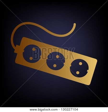 Electric extension, electric plug icon. Golden style icon on dark blue background.