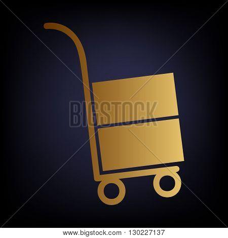 Hand truck icon. Golden style icon on dark blue background.