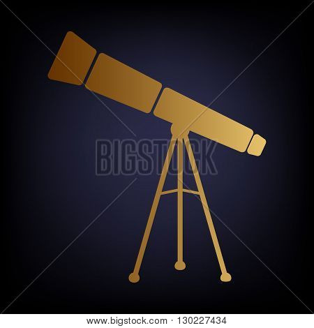 Telescope simple icon. Golden style icon on dark blue background.