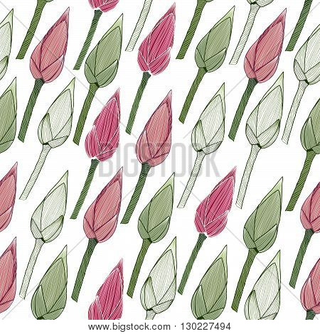 Simple floral pattern. Lotus buds in the spring season. Seamless background. Endless texture. Nature theme. Can be used for wallpaper, pattern fills, web page background, surface textures.