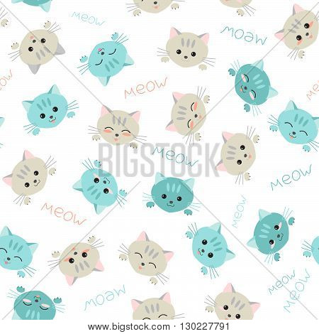 Seamless kitten background. Japanese manga style. Illustration with cute cats. Kawaii joyful pets. Kitten background. Endless texture. Animal pattern. White background.