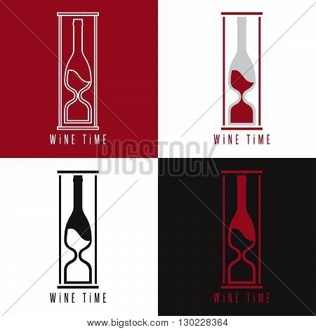 Concept Vector Illustration With Bottle Of Wine And Sandglass