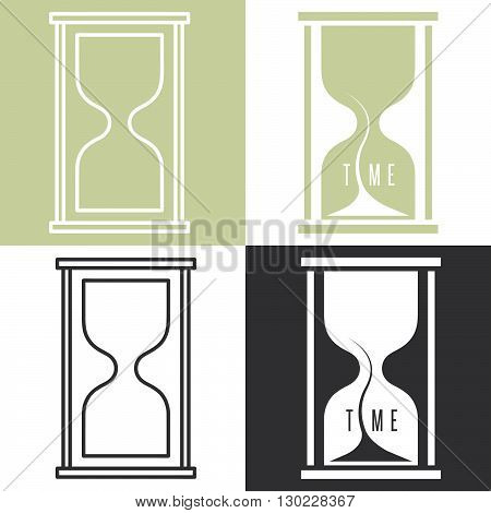 set of concept vector illustration with sandglass