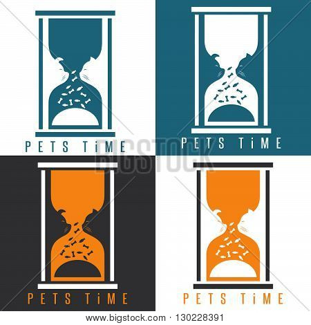Negative Space Vector Illustration With Pets And Sandglass