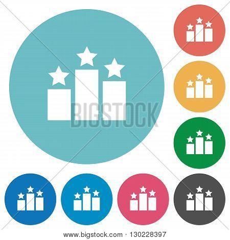 Flat ranking icon set on round color background.