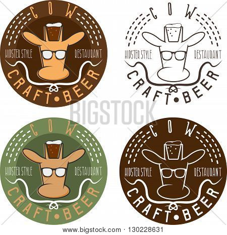 Cow Craft Beer Hipster Style Restaurant Negative Space Concept Labels