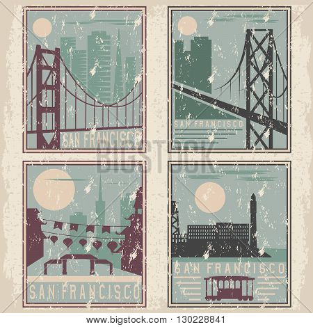Old Style Grunge Vintage Retro Posters With San Francisco Landmarks
