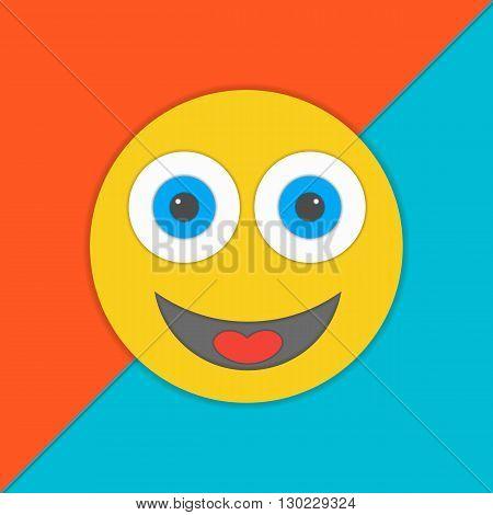 Material design smile vector illustration.