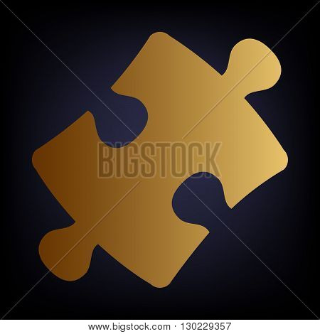 Puzzle piece flat icon. Golden style icon on dark blue background.