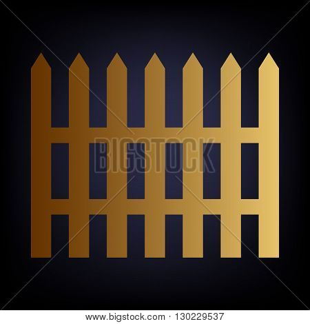 Fence simple icon. Golden style icon on dark blue background.