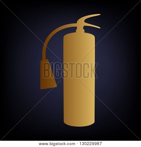 Fire extinguisher icon. Golden style icon on dark blue background.