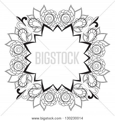 Black and white abstract pattern with space for text, a wreath of roses. Vector design template for art.