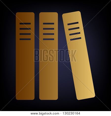 Row of binders, office folders icon. Golden style icon on dark blue background.