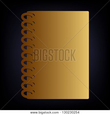 Notebook simple icon. Golden style icon on dark blue background.