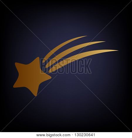 Shooting star icon. Golden style icon on dark blue background.