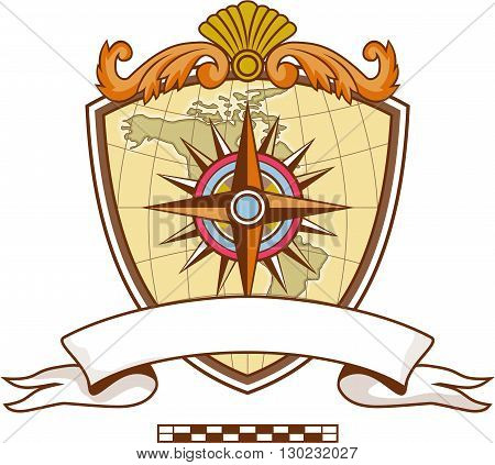 Illustration of a compass or star with map in the background set inside coat of arms crest and banner with ribbon in front done in retro style.