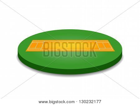 Cricket pitch illustration. Cricket pitch on white background. Cricket pitch vector. Pitch illustration. Cricket pitch vector