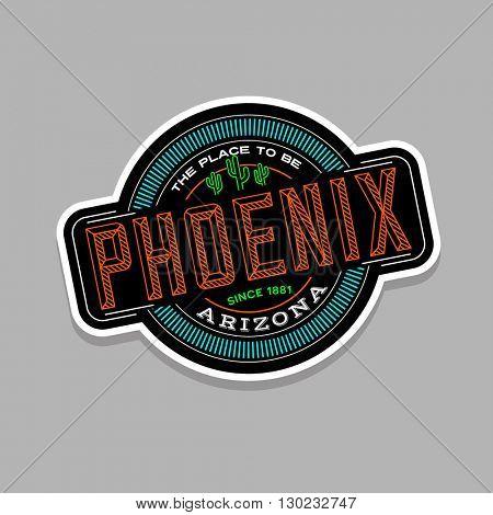 phoenix, arizona linear emblem design for t shirts and stickers