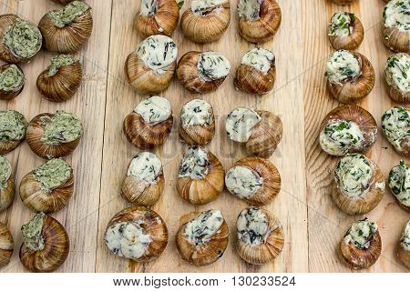 Traditional French cuisine stuffed snails on wooden board