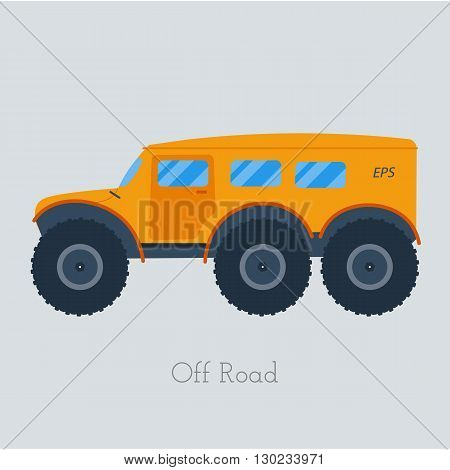 Cross country vechicle vector illustration . Isolated atv truck. Off Road Vehicle Outdoor illustration