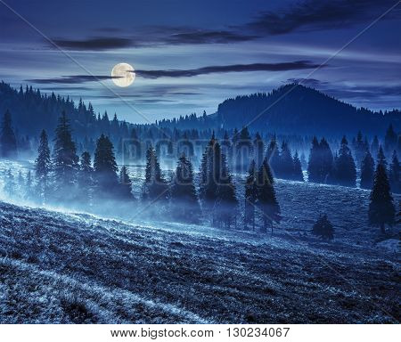 Fog On Hot Sunrise In Mountains At Night