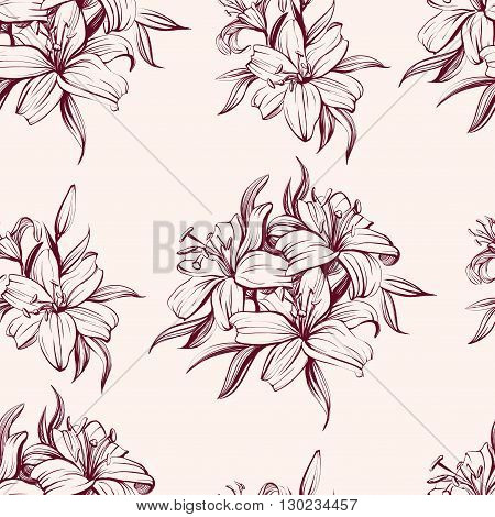 floral blooming lilies background hand drawn vector  illustration  sketch