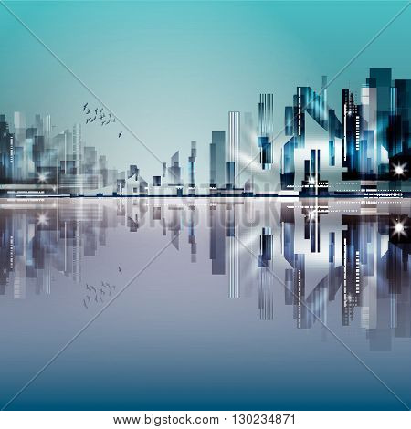 Modern night city with reflection on water surface