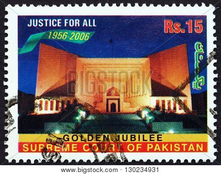 PAKISTAN - CIRCA 2006: a stamp printed in Pakistan shows Supreme Court Building at Night circa 2006