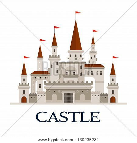Gothic castle fortress icon with arcade palace with arched windows, balconies and terrace, towers and turrets with flags, gatehouse with lifting forged lattice of the fortress gates