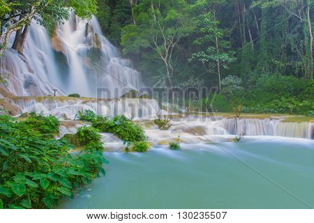 Waterfall In Rain Forest (tat Kuang Si Waterfalls At Luang Prabang, Laos)