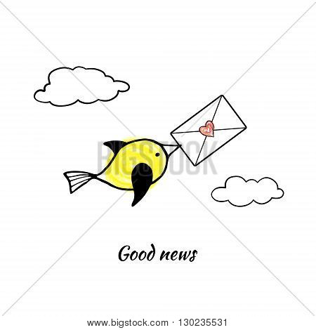 Cute yellow bird carries the letter in its beak. Vector stylized image.