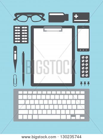 Medical doctor supplies. Desktop Icons medical supplies. Vector illustration.