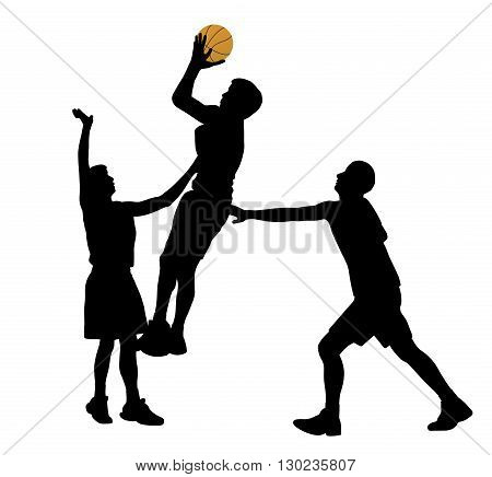 Illustration of three basketball players in action. Isolated white background. EPS file available.