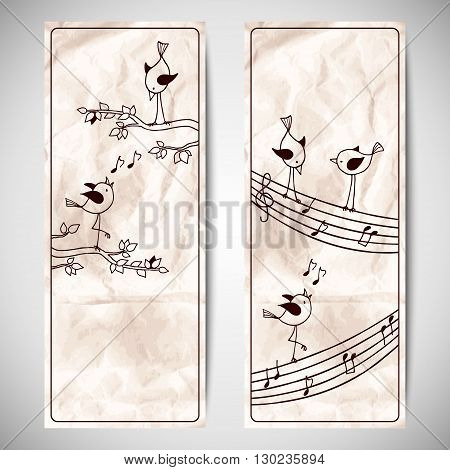 Vector set template with cute hand drawn birds on crumpled kraft paper background. Flyer design with a branch of the tree and stave.