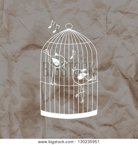 Two cute birds in a cage on a kraft paper background. Vector illustration.