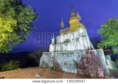 Pagoda Of Phu Si Temple At Twilight Time In Luang Pra Bang, Laos