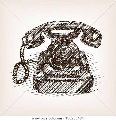 Old phone sketch style vector illustration. Old engraving imitation.