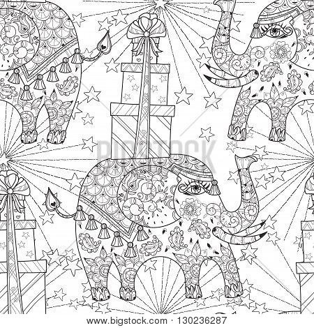 Hand drawn doodle outline circus elephant doodle decorated with ornaments.Vector Floral ornament.Sketch for tattoo or coloring pages.Boho style zen art.Seamless pattern