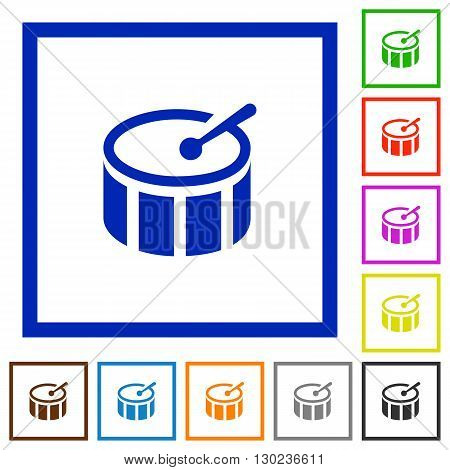 Set of color square framed drum flat icons on white background