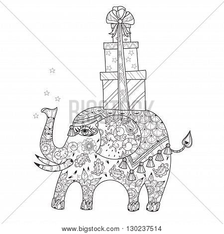 Hand drawn doodle outline circus elephant doodle decorated with ornaments and gift box.Vector Floral ornament.Sketch for tattoo or coloring pages.Boho style zen art.
