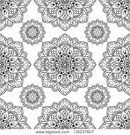Seamless vector background. The pattern with contour floral mandalas. Oriental floral ornament. Template for the carpet wallpaper shawls textiles.