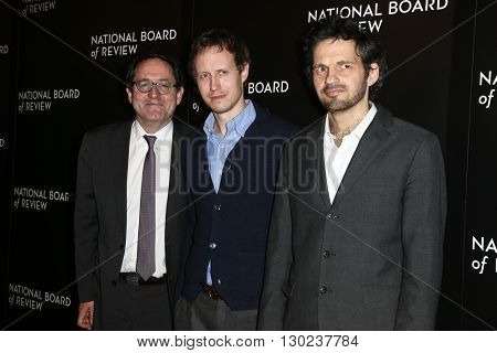NEW YORK-JAN 5:(L-R) Sony Pictures Classics Co-President Michael Barker, actors Geza Rohrig & Laszlo Nemes at 2015 National Board of Review at Cipriani 42nd Street on January 5, 2016 in New York City.